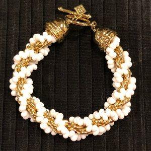 Banana Republic Gold Chain & White Beads Bracelet